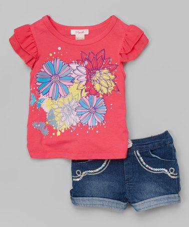 Take a look at this Pink Spring Flower Tee & Denim Shorts - Toddler & Girls on zulily today!