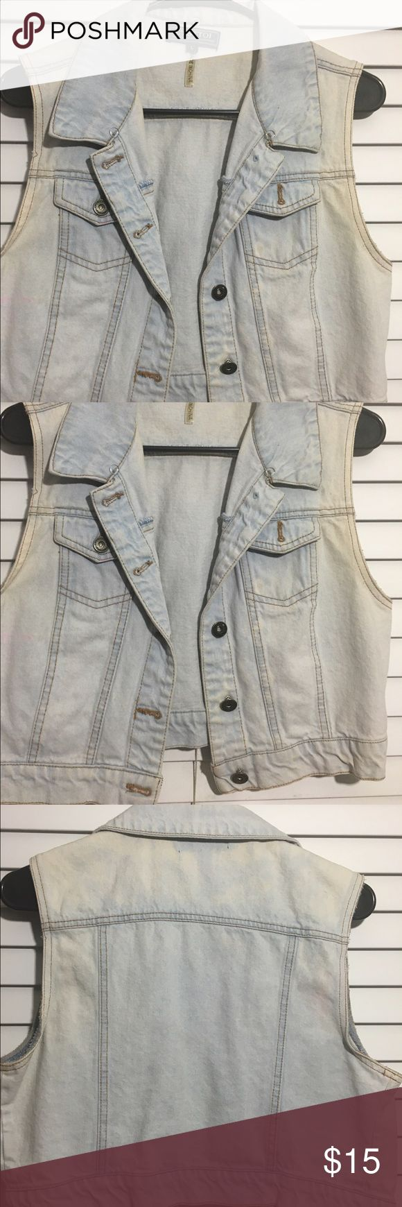 Denim Light Blue Slightly Distressed Vest This vest is denim, slightly distressed, and is a snug fit so a Large will fit like a Medium. It has only been worn a few times. Jackets & Coats Vests