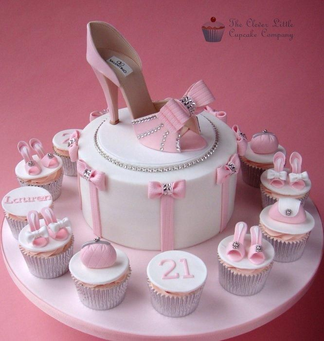 Pretty amazing pink designer heel shoe cake with bows and rhinestones and matching cupcakes. From The Clever Little Cupcake Company. #Valentino #inspiration #fondant