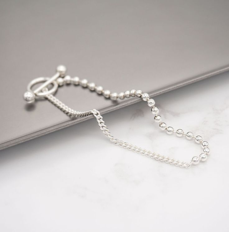 Sterling Silver Toggle Chain Ball Bracelet