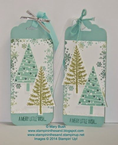 Soft and lovely card with coordinating gift tags featuring Stampin' Up!'s Seasonally Scattered and Festival of Trees stamp sets. Details and a shopping/supply list are available on my blog here: http://stampininthesand.blogspot.com/2014/11/scattered-merry-trees.html Join my Hostess Club and receive cards like this one FREE!