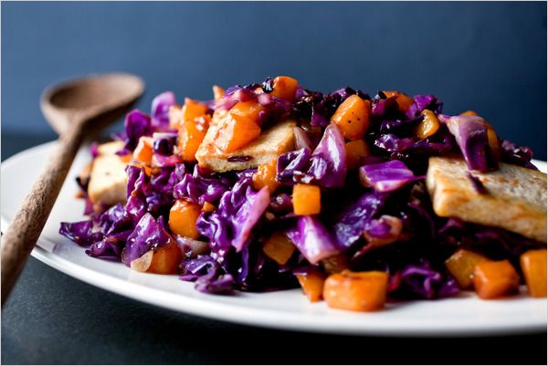 Stir-Fried Tofu, Red Cabbage and Winter Squash- this is super tasty!  I didn't have sesame or peanut oil, and it still tastes great :)