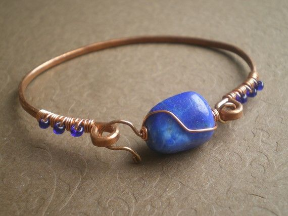 Lapis hammered copper bangle bracelet by ivytalagadesigns for Hammered copper jewelry tutorial