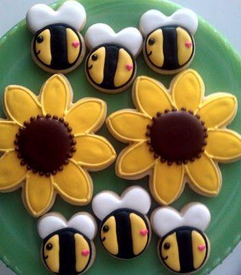 Bee cookies and sunflower cookies...double treat
