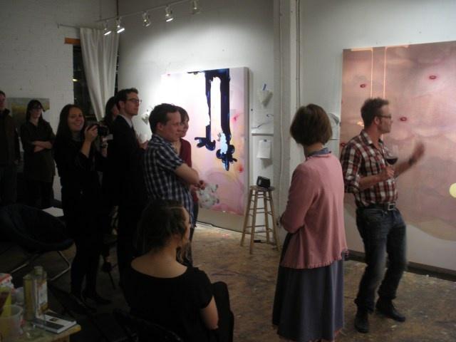Mark Mullin judging the improv-art-sketch of Pivot Glenbow members in his studio #sceneyyc