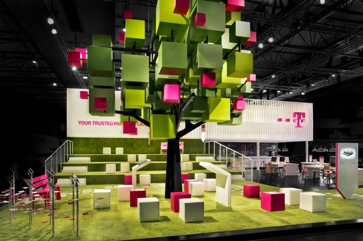 3d representation of the the T-mobile logo, block form tree  Eye catching exhibition stand incorporating a brand's identity
