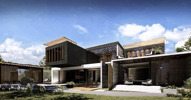 Villa LMS | Chihuahua, México  Rear Facade  #architecture #design #arquitectura #arquitetura #archidaily #archilovers #luxury #facade #render #view #nature #concrete #wood #architects #architecturaldesign #sketch #arquiteto W/ Arq. Manuel Núñez