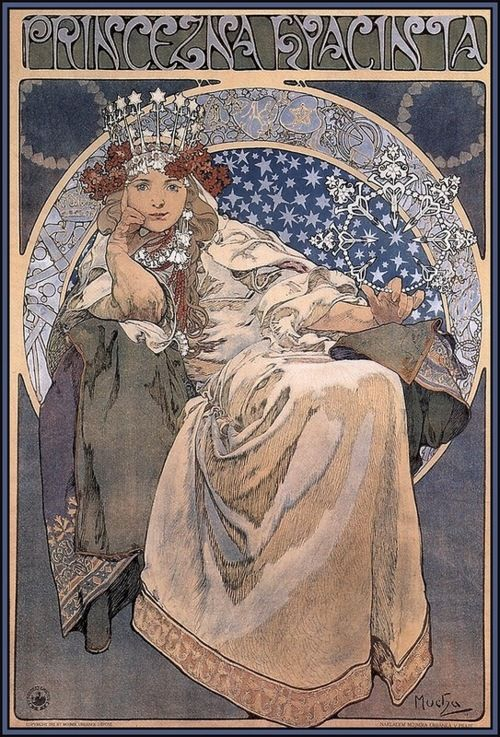 Princess Hyacinth by Alphonse Mucha, 1911. Just added this print to my collection from the Mucha museum.