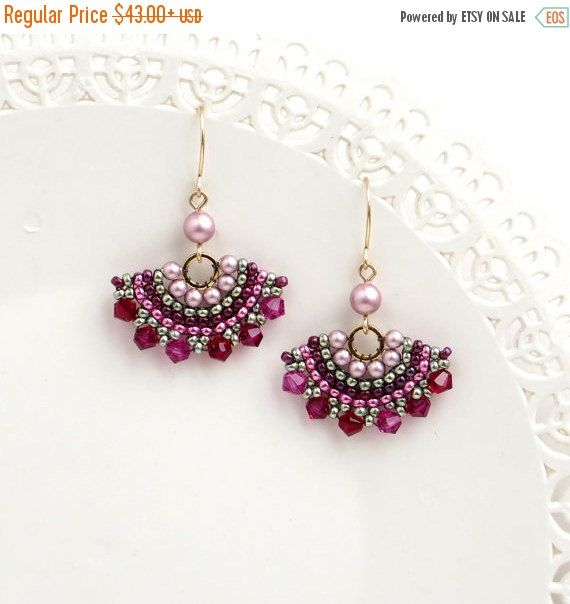 SALE 20% Crystal dangle earrings, Swarovski crystal beaded earring, Rose earrings gold, Pink and green earring, Elegant earring, Fan earring