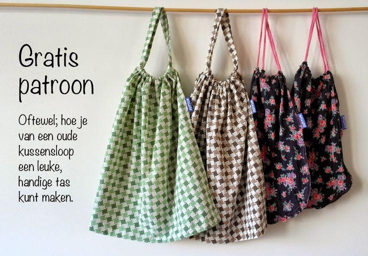 Gratis werkbeschrijving: hoe je van een oude, schone kussensloop een handige, hippe en plastic besparende (boodschappen)tas kunt maken!