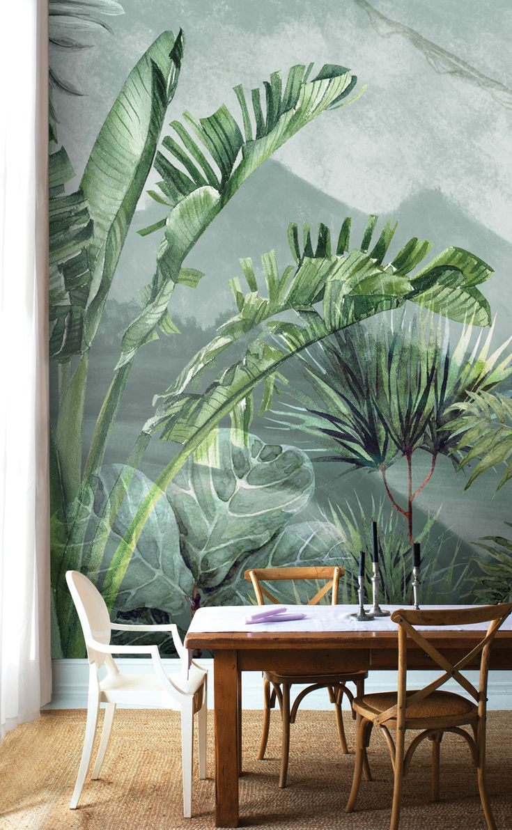 Amazon Forest Wallpaper Trendy Leaf Wall Poster Peel ...