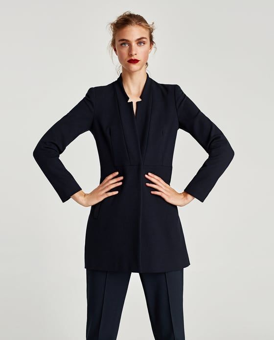 Image 2 of INVERTED LAPEL FROCK COAT from Zara
