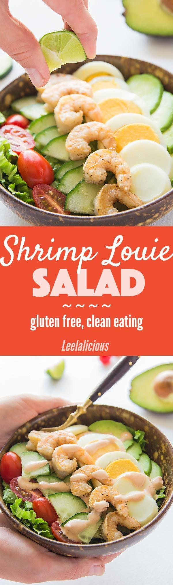 This vibrant Shrimp Louie Salad consists of lettuce with avocado, egg, tomato, cucumber, and seared shrimp topped with the signature Shrimp Louie dressing