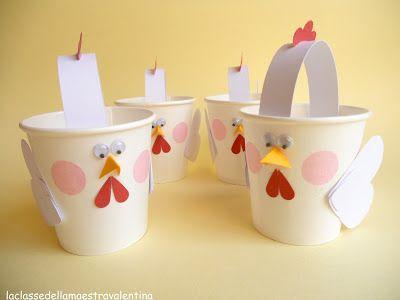 kippetjes van plastic bekertjes ( je kan ook een rol van wit karton maken als lijfje)