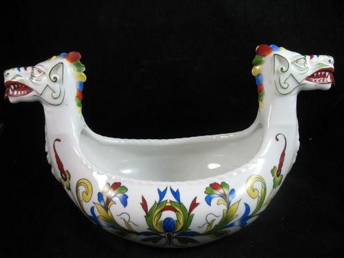 "Porsgrund Pottery Double Headed Dragon Viking Ship Ale Bowl 15"""