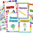 This title contains colorful rainbow-themed student binder covers for the following subjects - math, science, writing, social studies, reading, and...