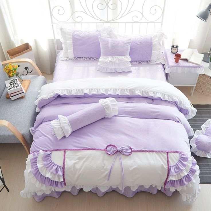 Find More Bedding Sets Information about luxury wedding dreaming purple white velvet coral fleece sweet bedding 4pcs set bows duvetcover cakelayer bedskirt freeshipping,High Quality fleec,China bedding sets in a bag Suppliers, Cheap fleece long underwear kids from Queen King Bedding Set  on Aliexpress.com