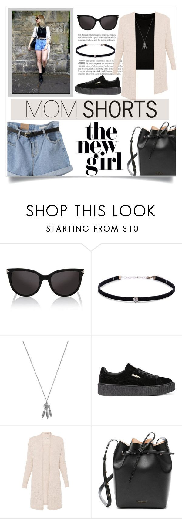 """""""Mom Shorts"""" by aylizzle01 ❤ liked on Polyvore featuring Karl Lagerfeld, Carbon & Hyde, Accessorize, Puma and Mansur Gavriel"""