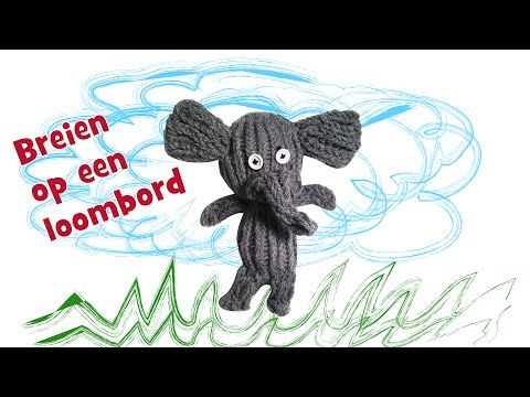 Zelf knuffels maken olifantje als knuffel breien met wol op een Loombord - YouTube