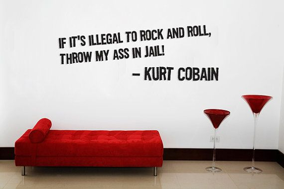 Kurt Cobain quote Rock and Roll Wall art by Walkingdeadpromotion, $24.99