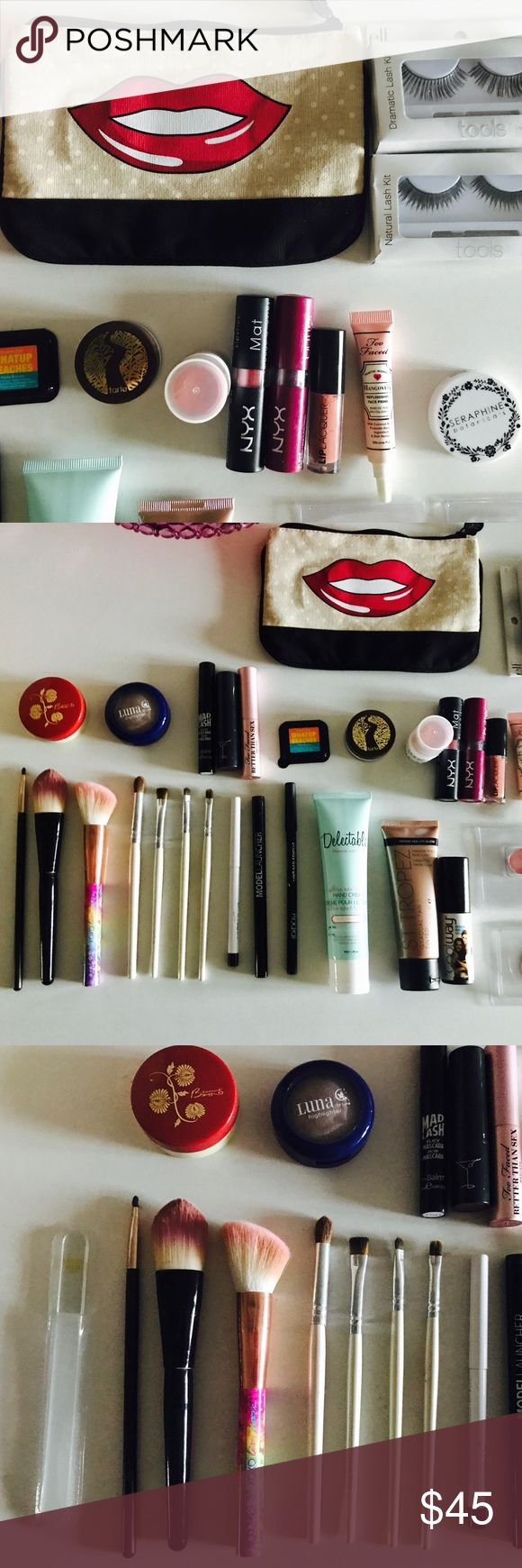 37 pieces!! TARTE, URBAN DECAY, TOO FACED, ST TROP These are all BRAND NEW! I have only swatch them but have never used them. 37 PIECES TOTAL, including: Margaret Dabbs Glass File, 7 high make-up brushes, Colour Pop Gel Liner, Model Launcher Emerald Eye Liner, Rodial Black Smokey Eye Pen, Delectable Full Size Vanilla Mint Shea Butter Hand Cream, St Tropez Bronzer, Coolway, 3 Urband Decay Eye Shadow, The Balm Bronzer and Mad Lash Mascara, Too Faced Hangover Face Primer, Tarte Smooth Operator…