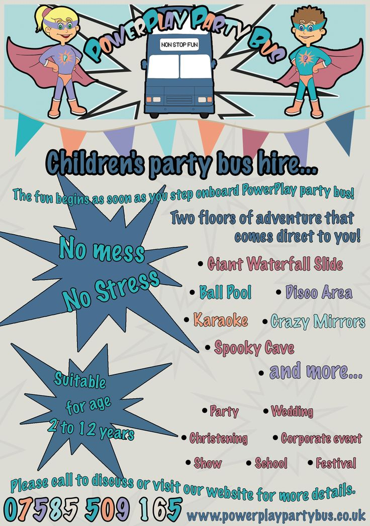 PowerPlay Party Bus Leaflet/Flyer, including information about the party bus.