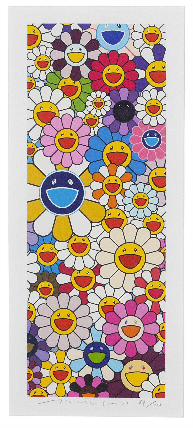 Takashi murakami sun flowers and contemporary art uniqlog - Floflowers Christie S Neon Dreams Editioned Works By Kusama Murakami And Nara