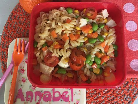 Great for lunchboxes, this pasta salad has a delicious honey soy sauce dressing.