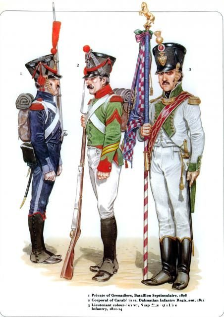Napoleon's Italian & Neapolitan Troops 1_Private of Grenadiers Bataillon Septinsulaire 1808 2_Corporal of Carabiniers Dalmatian Infantery Regiment 1811 3_Lieutenant-colonel Line Infantry 1811-14