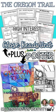 Oregon Trail Activities! Looking for some meaningful and fun Oregon Trail projects, lessons, and crafts to use with your 4th grade through 7th grade students? This unit has differentiated Close Reading passages and a collaborative Oregon Trail Art project, perfect for an amazing bulletin board!