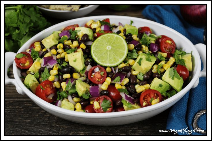 Avocado, Black Bean & Corn Salad ~ a bright, colorful and flavorful fiesta on a plate!  I absolutely love having salad as a main dish… but it has to be…