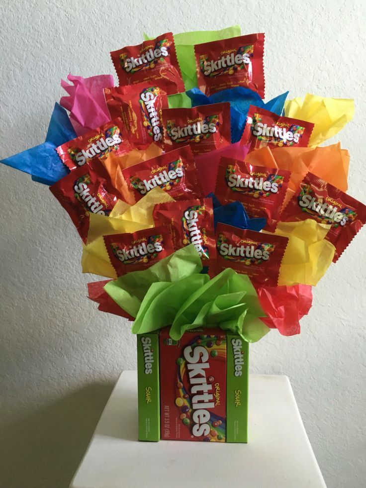 A personal favorite from my Etsy shop https://www.etsy.com/listing/462382895/skittles-candy-bouquet