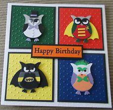 Stampin' Up Owl Punch Super Hero Hand Made Birthday Card - Batman Joker Robin
