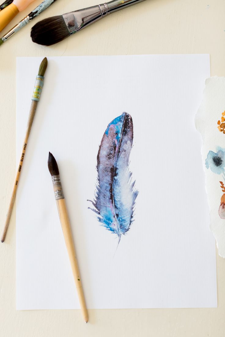 Free watercolor feather downloadable printable