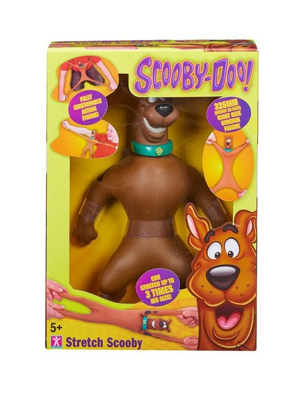 Stretch Scooby is a giant size fully stretchable action figure. You can stretch Scooby up to 3 times his size! To stretch him, simply pull his arms and legs! He features classic Scooby-Doo styling, complete with dog collar! For ages 5 years and over.Depth: 10 CMHeight: 35 CMWidth: 23 CMAge Range: 5+Character: Scooby DooWarning Message: Warning: Not suitable for children under 3 yearsStretch Scooby is a giant size fully stretchable action figure.You can stretch Scooby up to 3 times his…