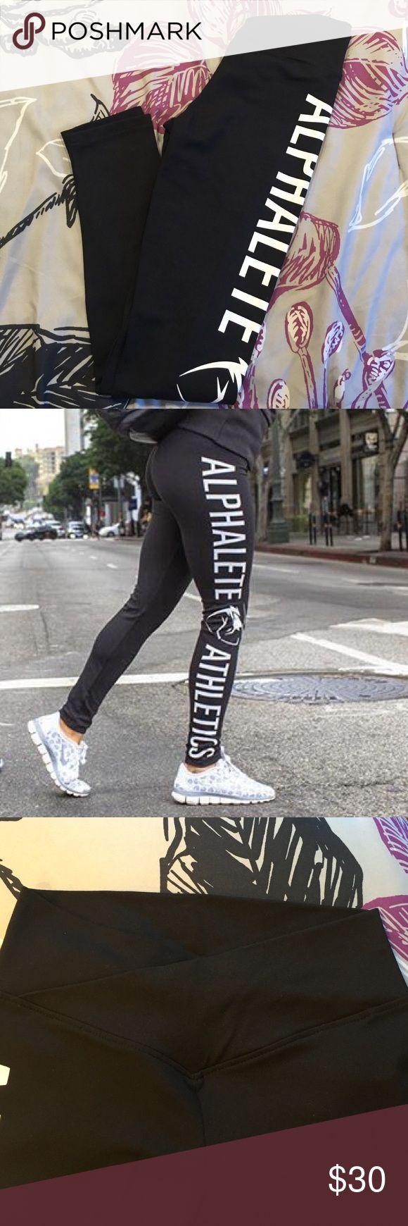Alphalete Athletics Women's Leggings Alphalete Athletics Women's Black Leggings! NEVER WORN! SZ SMALL! V cut front. Alphalete written on side of leg. Alphalete Athletics Pants Leggings