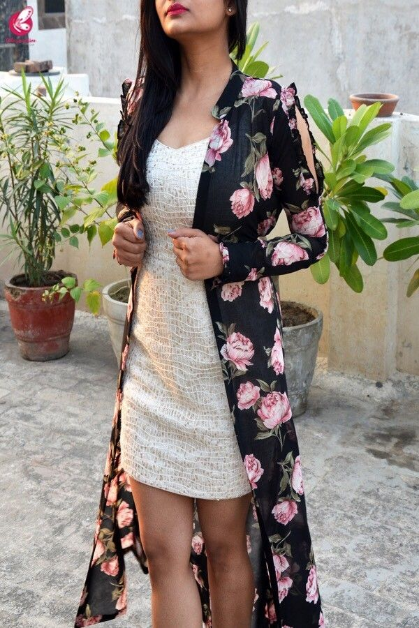 ca128389cc7 Buy Black Georgette Floral Long Shrug Online in India