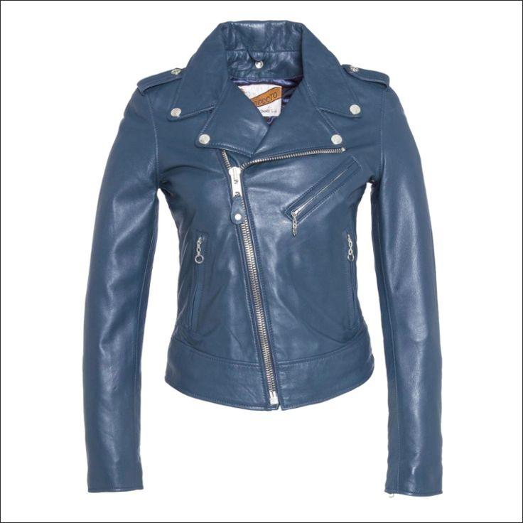 Γυναικείο δερμάτινο μπουφάν SCHOTT N.Y.C. Μοντέλο: Perfecto Leather Jacket  Δέρμα: blue nappa Τιμή: 395€