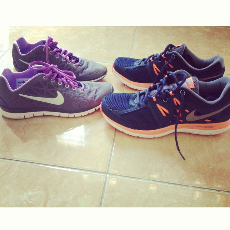 Mine and his #justdoit #nike #runningshoes #nikefree #nikedualfusion