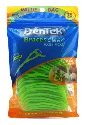 These are the BEST thing I have ever found to use while wearing my braces. They fit between my teeth so easily and save soooooooooooooo much time instead of having to use a floss-threader.  Dentek Floss Picks Braces Clean Fresh Mint 75's by Dentek, http://www.amazon.com/dp/B005MFKTCC/ref=cm_sw_r_pi_dp_u23arb1ZBM0R8