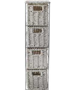 Slimline 4 Drawer Storage Tower - White.
