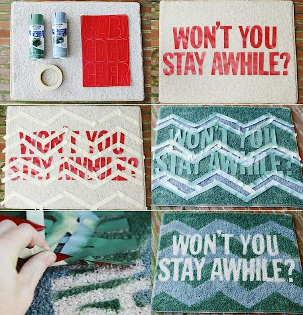 diy door mat with tutorials: Paintings Doors, Diy'S Rugs, Diy'S Crafts, Welcome Mats, Front Doors, Doors Mats, Stay Awhil, Rugs Diy'S, Dorm Rooms