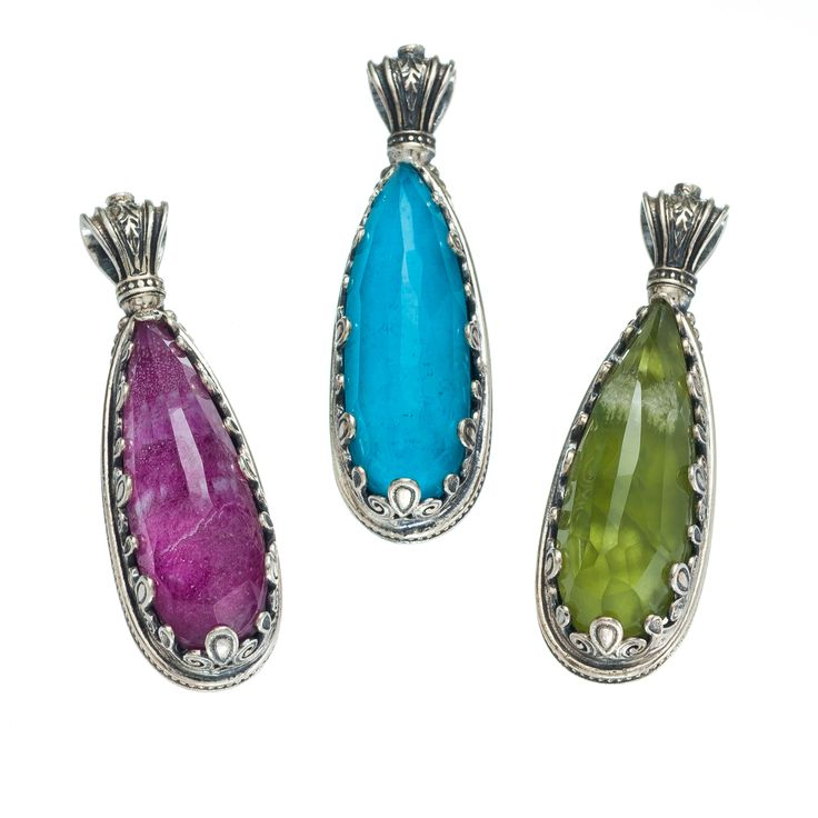 Teardrop pendants in sterling silver with doublet stones 10x30mm