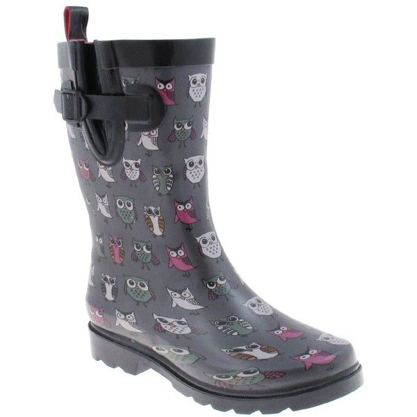 Capelli New York Pop Owls Printed Ladies Short Rubber Rain Boot ($25) ❤ liked on Polyvore featuring shoes, boots, wellies rubber boots, capelli new york boots, wide rain boots, wellies boots and rubber rain boots
