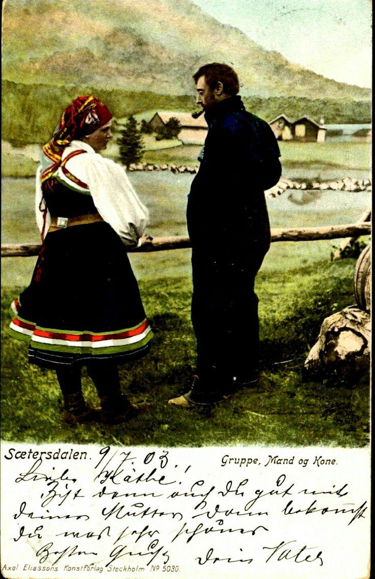 Bunadskort SÆTERSDALEN. Fargekort. Mand og kone. Utg Axel Eliassons Förlag Stemplet 1903