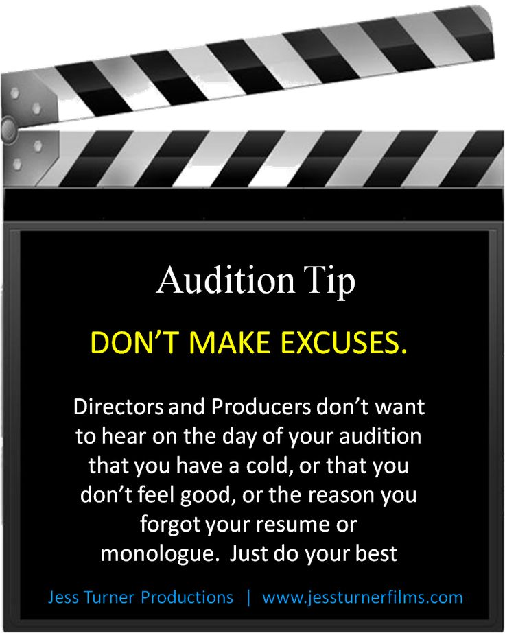 Follow us on Facebook for more audition tips at www.facebook.com/JessTurnerProductions