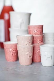 Pink dala horse mugs