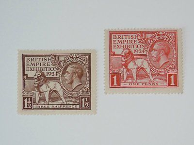 Stamp Pickers Great Britain 1924 KGV Empire Exhibition MH Set Sc #185-186