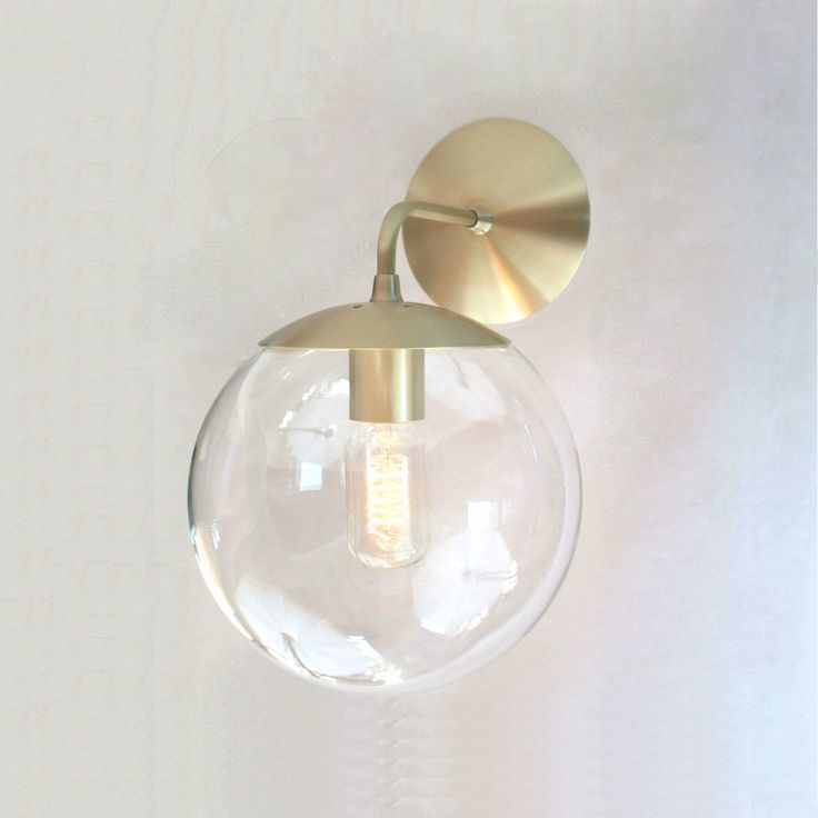 """Mid Century Modern Wall Sconce 8"""" Clear Glass Globe - The Orbiter 8 Wall Sconce - Wall Mount Lighting by SanctumLighting on Etsy https://emfurn.com/"""