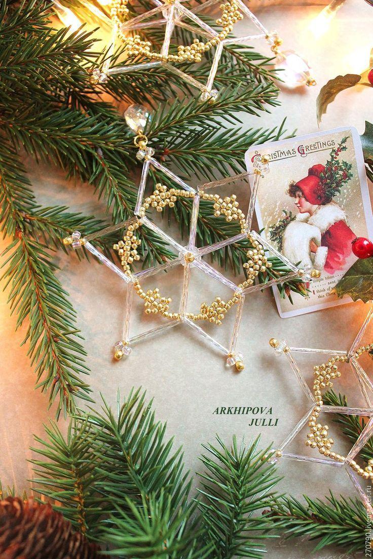 Купить НОВИНКА!!! Эксклюзивные звезды из чешского стекляруса.Набор из 10 шт. - золотой, снежинки из бисера